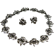 Vintage Cini Sterling Silver Lily Flower Necklace & Earrings