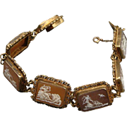 Victorian 800 Silver Horse, Chariot & Rider Picture Cameo Bracelet