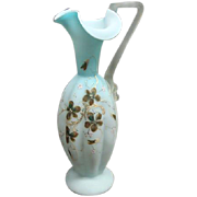 Victorian Mt Washington Enamel Painted Satin Art Glass Ewer Ca 1870