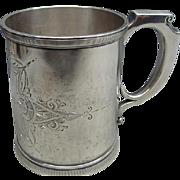 Civil War Era Sterling Silver Christening Mug Emma By Wood & Hughs Ca 1860