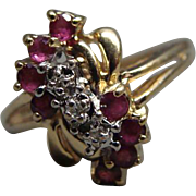 Ladies 10k Yellow Gold Ruby and Diamond Cocktail Ring Size 6.25
