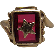 Vintage Ladies Eastern Star On Red Stone Masonic 10k Gold Ring Size 7