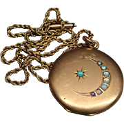 SOLD Victorian Gold Filled Locket Pendant and Chain With 8 Moonstones In Star and Moon