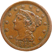 1855 Braided Hair Large US Cent Coin Slanting 55's Knob On Ear Extra Fine Estate Find