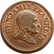 Civil War Token Benjamin Franklin A Penny Saved Is A Penny Earned Planchet Die Mint ...