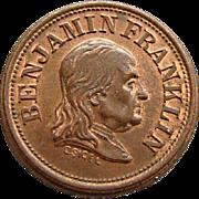Civil War Token Benjamin Franklin A Penny Saved Is A Penny Earned Planchet Die Mint Error