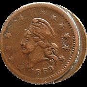 1863 Civil War Token Wilsons Medal With Planchet Die Mint Error