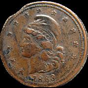 1863 Civil War Token Liberty Head Not One Cent Planchet Die Mint Error
