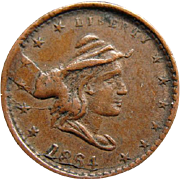 1864 Civil War Token Liberty Head Our Army Planchet Die Mint Error