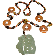 Wonderful Chinese Multi Color Jade and Tigers Eye Necklace and Pendant Amulet