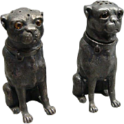Victorian Silver Plate Figural Sitting Pug Dog Salt & Pepper Shakers With Glass Eyes