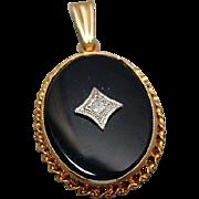 Vintage Ladies 10k Gold Onyx & Diamond Pendant