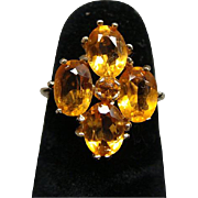 Vintage Ladies 14k Yellow Gold Amber Gemstone Ring Size 4.5