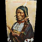 1910 Indian Postcard Kiowas Brave In War Dress