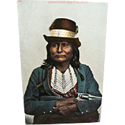 1910 Indian Postcard Comanches Esa-Ton-Yet Holding a Pistol