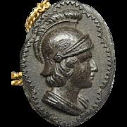 Civil War Gutta Percha Pendant Of Roman Soldier