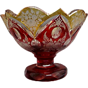 Bohemian Moser Glass Vase 2 Color Etched Ruby and Amber