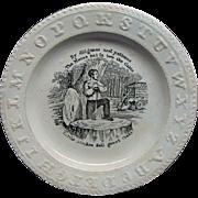 Antique Staffordshire ABC Motto Plate Little Stroke Fell Great Oaks