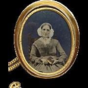 Impressive Victorian Rose Gold Filled Photo Locket Brooch Identified Sitter