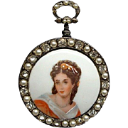 Hand Painted Limoges Portrait Of A Lady Brooch Pin