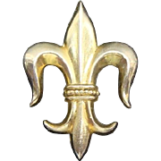Vintage Gold Filled Fleur De Lis Watch Pin Ca 1900 Signed H & H