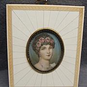 SALE PENDING Antique Miniature Painting In Inlaid Frame Portrait Of Josephine