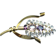 Vintage Sterling Silver Vermeil Brooch With Purple Stones