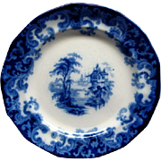 """Staffordshire Flow Blue 7 1/2"""" Columbia Pattern Plate Ca 1846 #1"""