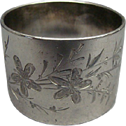 Victorian Engraved Floral Silver Plate Napkin Ring Ca 1875