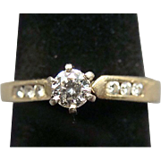 14k Gold Diamond Ring Round Cut Size 8
