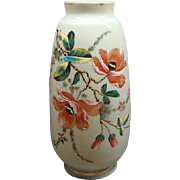 Antique Bohemian Opaline Glass Vase With Enamel Painted Flowers