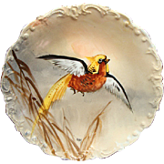 Antique Flambeau Limoges Game Bird Cabinet Plate Signed Max Ca 1890