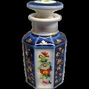 Beautiful Antique Cobalt Blue Paris Porcelain Bottle Ca 1850