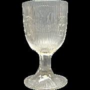 EAPG Pressed Flint Glass Goblet Bellflower Fine Rib McKee Brothers 1860