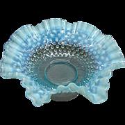 "11 1/2"" Fenton Blue Opalescent Hobnail Glass Brides Basket"