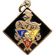 Knights of Pythias Fob Vintage 10k Gold and Enamel