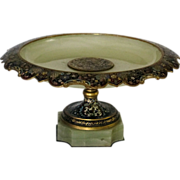 SALE French Champleve Cloisonne Enamel Onyx Tazza Centerpiece 19th C Moorish Persian style