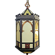 SALE 1920's Arts & Crafts Gothic Church LG Hanging Pendant Ceiling Lamp Fused Glass Polychrome