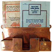 SOLD Aladdin Copper Plated Oil Lamp Match Holder & Instruction Booklets Generator Wick Cleaner