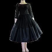 50's 60's Little Black Dress Chiffon Taffeta Cocktail Party Tea Length