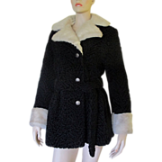 VTG 1960's 70's Miracurl Faux Fur Coat Persian Lamb White Mink Trench Jacket ...