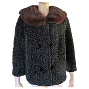 Vtg 1950's 60's Faux Persian Lamb Jacket Brown Mink Fur Collar