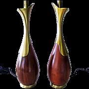 SALE Tony Paul Lamps Pair Westwood Industries Mid Century Modern Teak Brass
