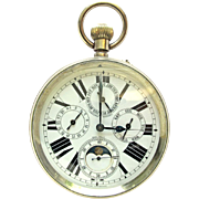 Antique Camerden & Forster French Pocket Watch / Car Clock Triple Calendar w/ Moon Phase
