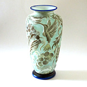 SALE Marialyce Hawke Cameo Art Glass Iridescent Hummingbird Grape Vase