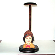 Vintage Flapper Cloche Doll Hat Stand Millinery Display