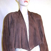 SALE Vintage 1970's Gucci Suede Leather Batwing Wrap Jacket Italy