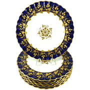 Copeland China Dinner Plates Cobalt Blue & Gilt