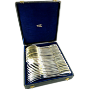 Puiforcat French Silver Service for Twelve Engraved with Crest Fiddle Thread Pattern