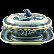 Antique Export Blue & White Porcelain Sauce Tureen